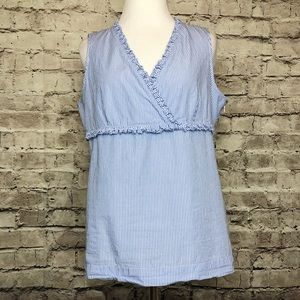Talbots Blue White Striped Ruffle Shirred Top 10